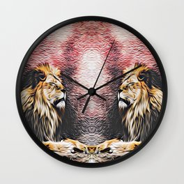 two lions with red and black background Wall Clock