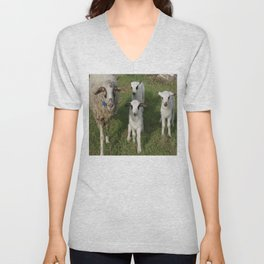 Ewe and Three Lambs Making Eye Contact Unisex V-Neck