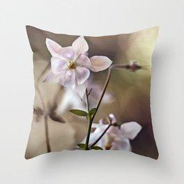 White columbine flowers Throw Pillow