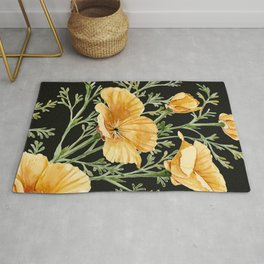 California Poppies on Charcoal Black Rug