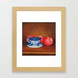Teacup with Three Apples Framed Art Print