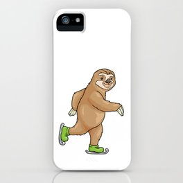 Sloth at ice skating with ice skates iPhone Case