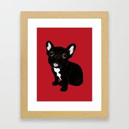 Cute Brindle Frenchie Puppy Framed Art Print