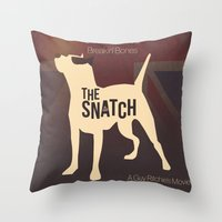 snatch Throw Pillows featuring The Snatch - Stealin' Stones & Breakin' Bones by Thecansone
