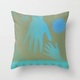 Babysitter Blue Tan Hands Throw Pillow