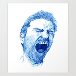 Man yawning or screaming? Art Print