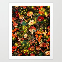 Night Garden and Fireflies Art Print