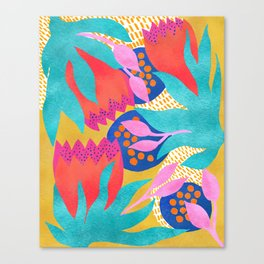 Bold Flower Pattern Yellow Background Canvas Print