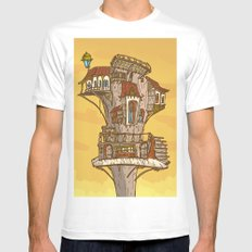 Wooden house at sky White MEDIUM Mens Fitted Tee