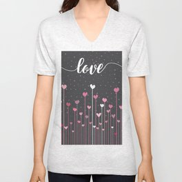 Love & Hearts Unisex V-Neck