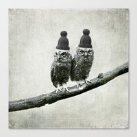 owls Canvas Prints featuring Owls by Juste Pixx Designs