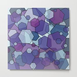 Converging Hexes - purple and blue Metal Print