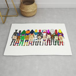 Superhero Butts - Girls - Row Version - Superheroine Rug