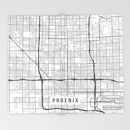 Phoenix Map, Arizona USA - Black & White Portrait Throw Blanket