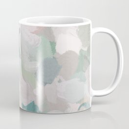 Mint Seafoam Green Dusty Rose Blush Pink Abstract Nature Flower Wall Art, Spring Painting Print Coffee Mug