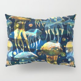 Underwater life. Jellyfish. Hand drawn illustration. Watercolor seamless pattern. Pillow Sham