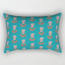 Mid-Century Modern Teal Botanical Pattern Rectangular Pillow