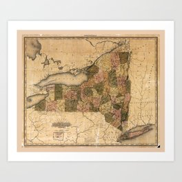 Map of New York (1823) Art Print
