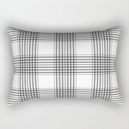 Gray & White Plaid Rectangular Pillow