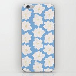 Watercolor Magnolias in Carolina Blue iPhone Skin