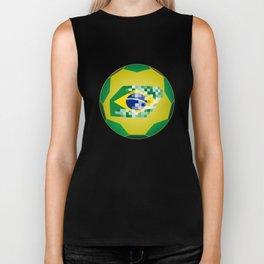 Football ball with Brazil flag Biker Tank