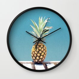 Pineapple on blue Wall Clock