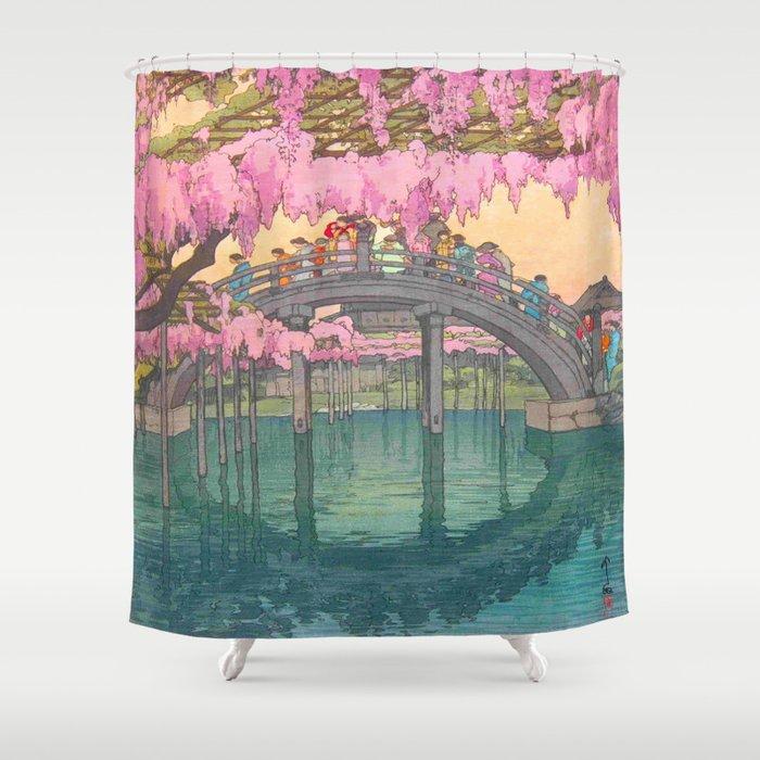 Yoshida Kameidô Japanese Woodblock Print Vintage Asian Art Wisteria Garden Bridge Shower Curtain