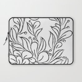 Floral Black and White Art Laptop Sleeve