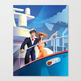 COUPLE ON YACHT Canvas Print