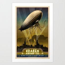 Steampunk Airship: Admiral Rosendahl Retro Travel Poster Art Print Art Print