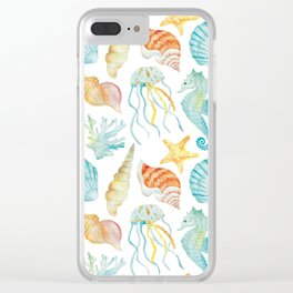 Sea theme watercolor print Clear iPhone Case