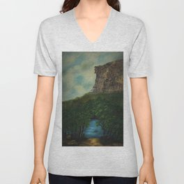 Old Man in the Mountain, Franconia Notch, White Mountains New Hampshire landscape painting Unisex V-Neck