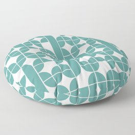 Mid Century Modern Geometric Pattern Cyan Floor Pillow