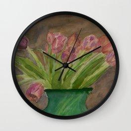 April Tulips Wall Clock