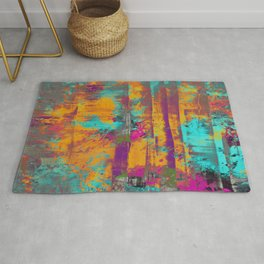 Burst Of Energy! - Abstract, orange, blue, pink, purple and green oil painting  Rug