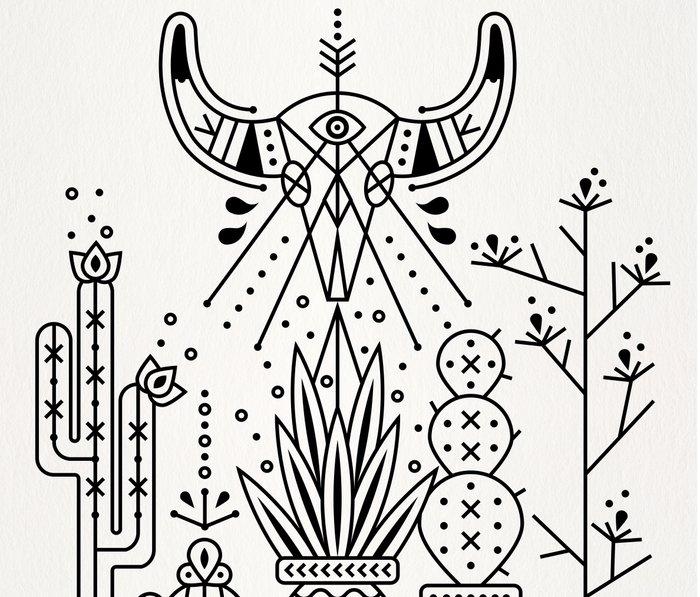 Santa Fe Garden – Black Ink Metal Travel Mug