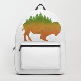 Buffalo Bison Nature Watercolor Painting National Parks Forest Art Backpack