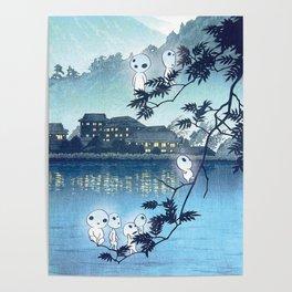 Kodama, Forest spirits vintage japanese woodblock mashup Poster