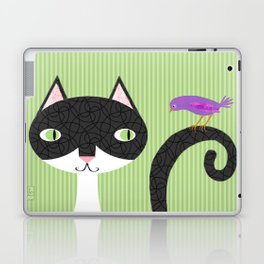 Tuxedo Cat and Purple Bird Laptop & iPad Skin