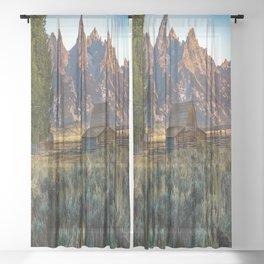 Wyoming - Moulton Barn and Grand Tetons Sheer Curtain