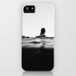 BLACK AND WHITE - OCEAN - WAVES - SEA - WATER - WOMAN iPhone Case