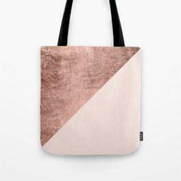 Minimalist blush pink rose gold color block geometric Tote Bag