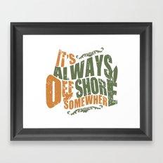 It's always offshore somewhere Framed Art Print