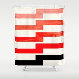 Mid-century Modern Minimalist Geometric Watercolor Gouache Lightning Bolt Shower Curtain