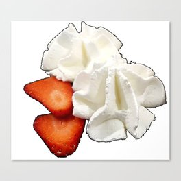 Strawberries and Whip Cream Canvas Print