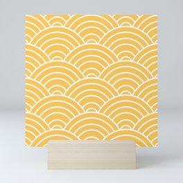 Yellow Japanese Seigaiha Wave Mini Art Print