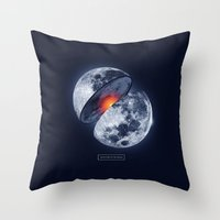 the moon Throw Pillows featuring Moon by Steven Toang