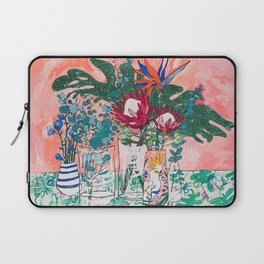 Cockatoo Vase - Bouquet of Flowers on Coral and Jungle Laptop Sleeve