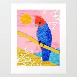Blazin - memphis throwback tropical bird art parrot cockatoo nature neon 1980s 80s style retro cool Art Print