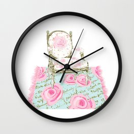 Shabby Chic Rug and French Chair Wall Clock